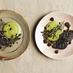 Roasted beets with crushed Blackberry Dressing Pistachio Puree