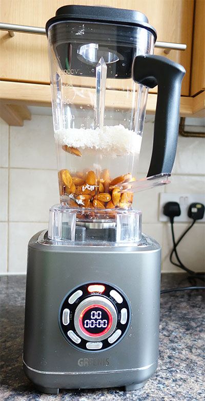 making nut butter with Greenis blender